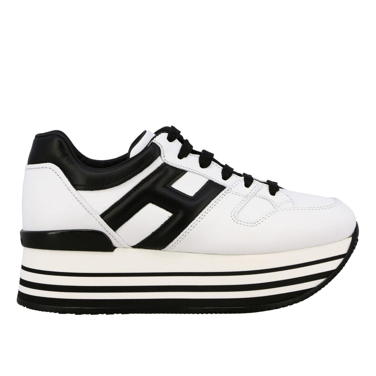 H222 Black And White Leather Sneakers