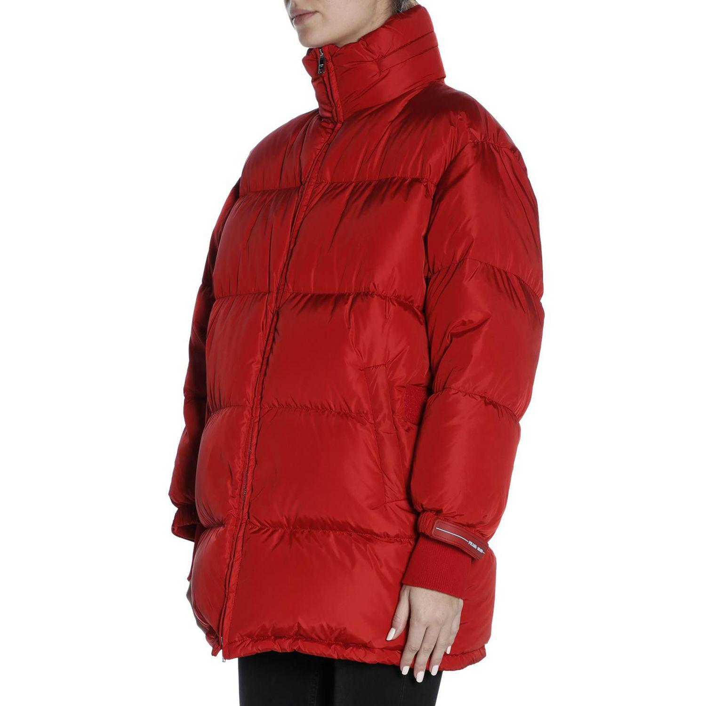 6cfd9bbeff Prada Red Waterproof Nylon Down Jacket With Maxi Logoed Band