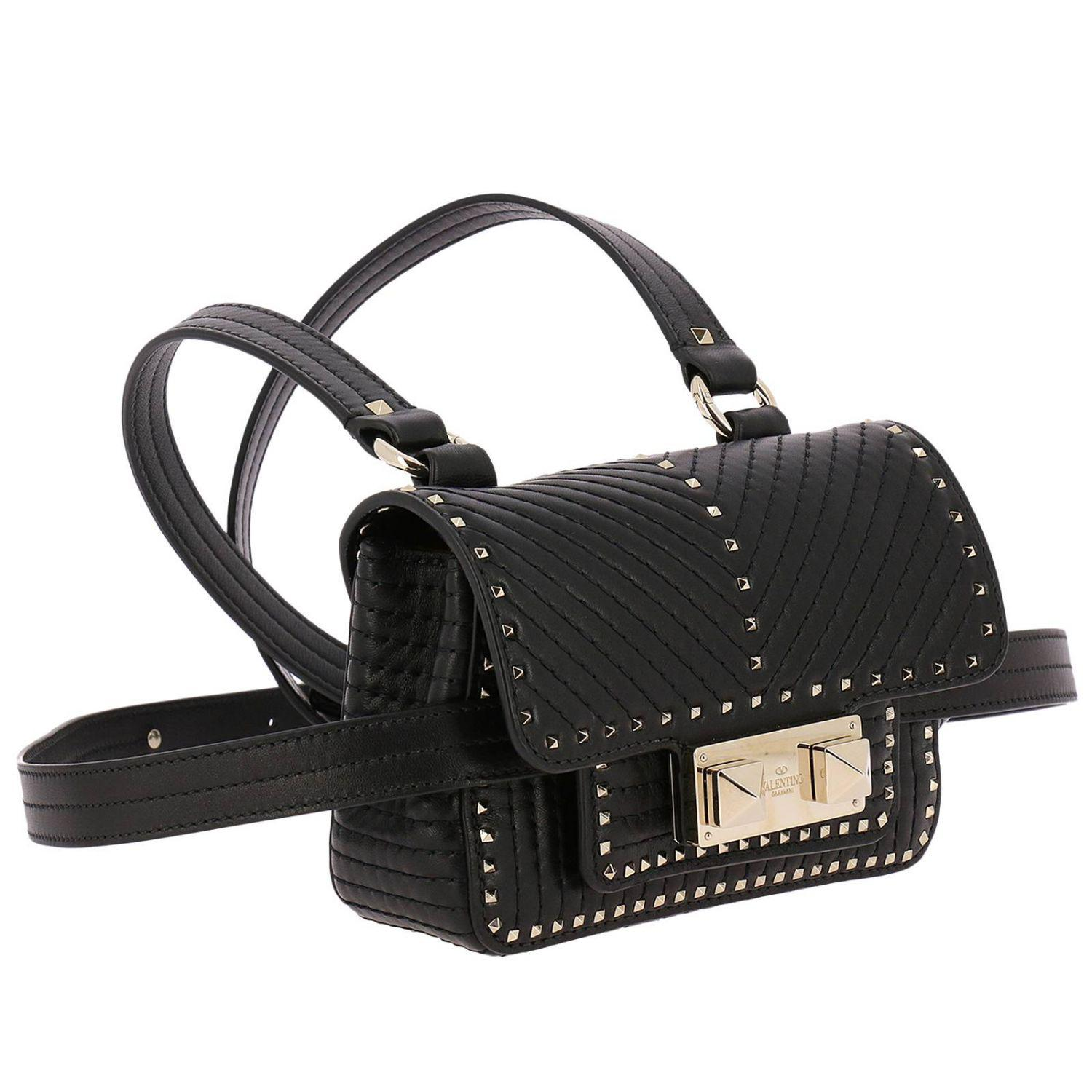 Valentino Ziggy Spike Mini Bag In Quilted Leather With Satchel Brown Gallery