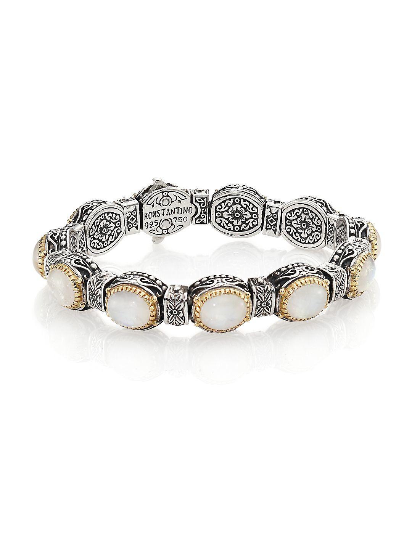Konstantino 18k Yellow Gold Bee Bracelet w/ Sapphires Sea19hWEt
