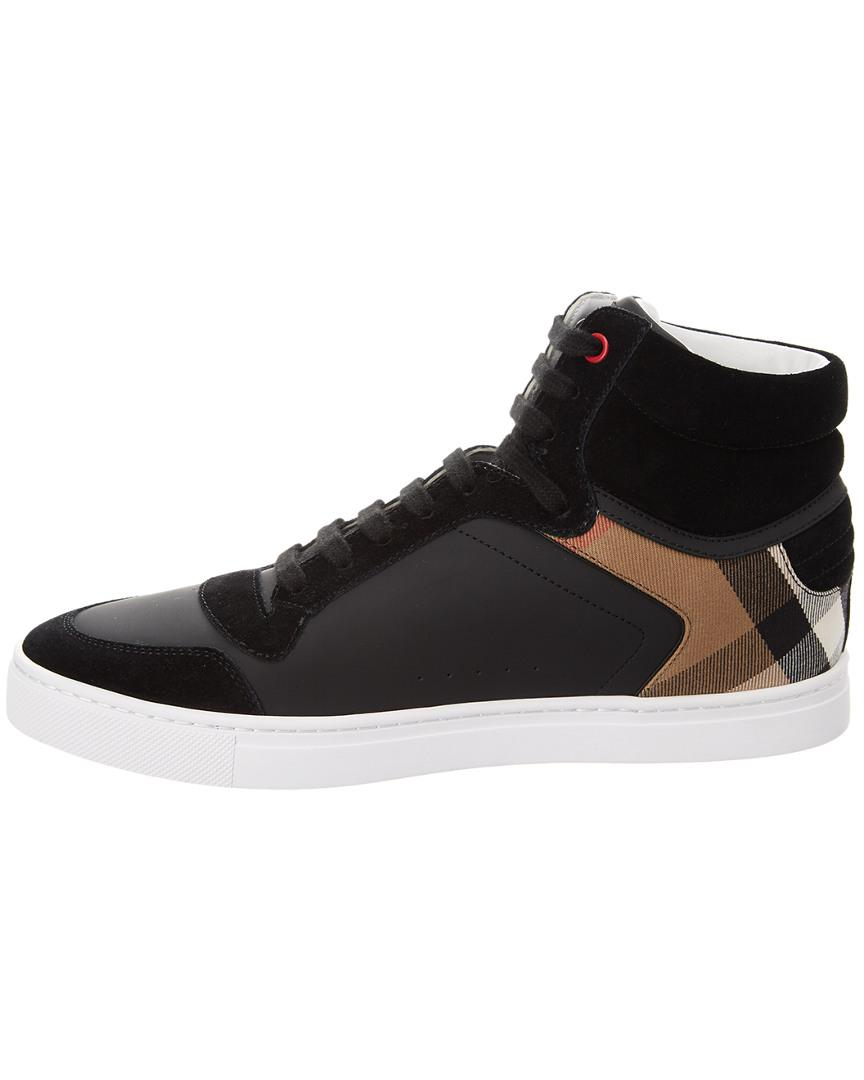 3e6eff5301a Lyst - Burberry Leather And House Check Hi-top Sneakers in Black for Men -  Save 23%