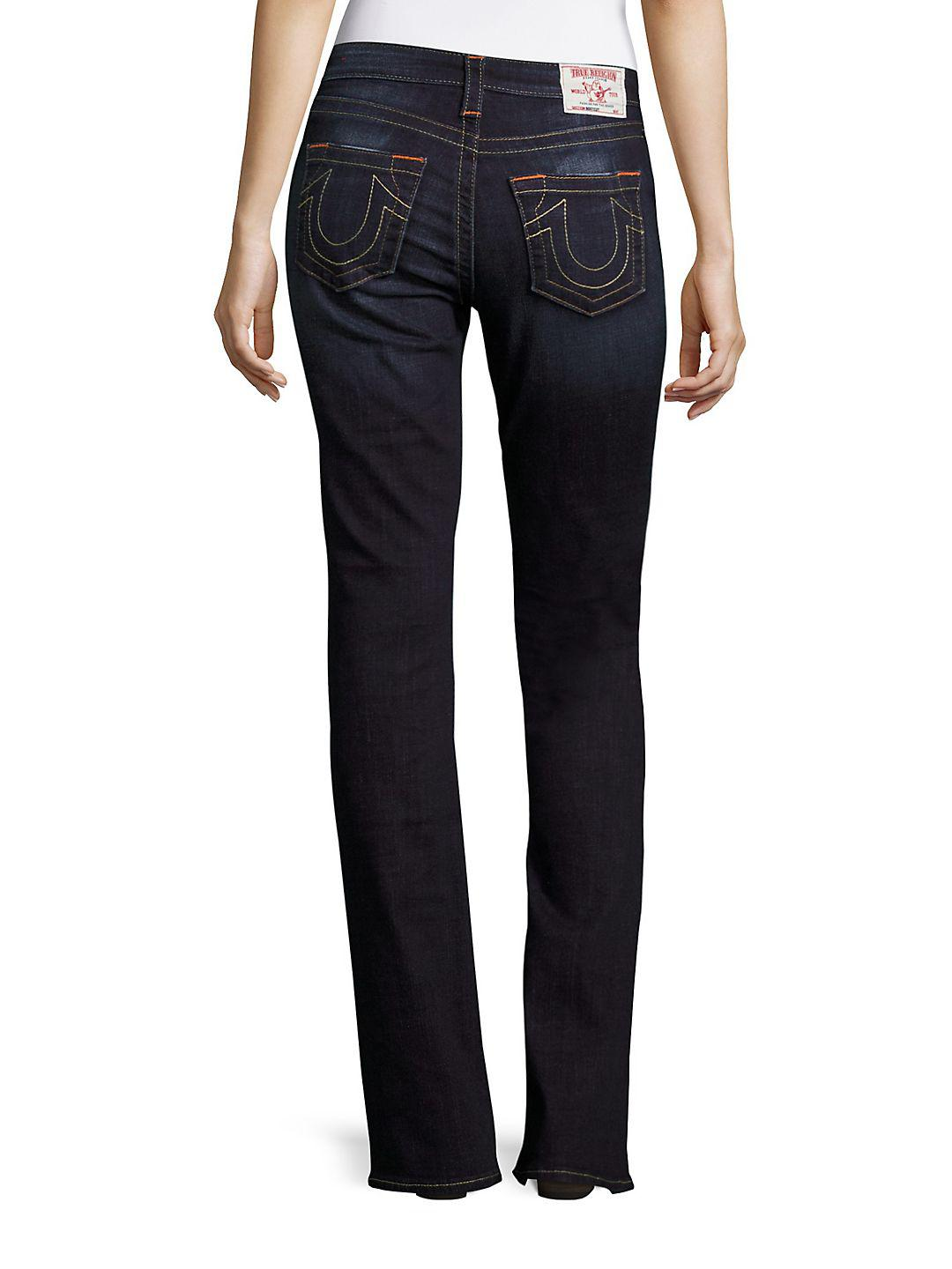 True Religion Denim Whiskered Bootcut Jeans in Blue