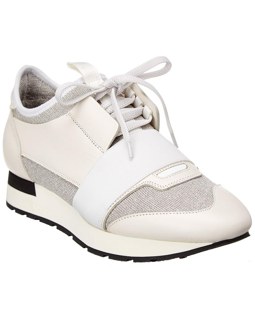 Balenciaga Race Runner Leather Sneaker in White Lyst