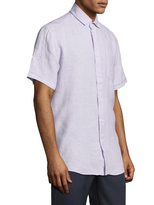 Saks Fifth Avenue Fixed Waist Linen Sportshirt in Light Violet (Purple) for Men