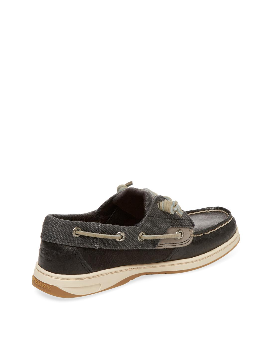 9bf91b63a1a24 Sperry Top-Sider Black Ivyfish Waxed Boat Shoe for men