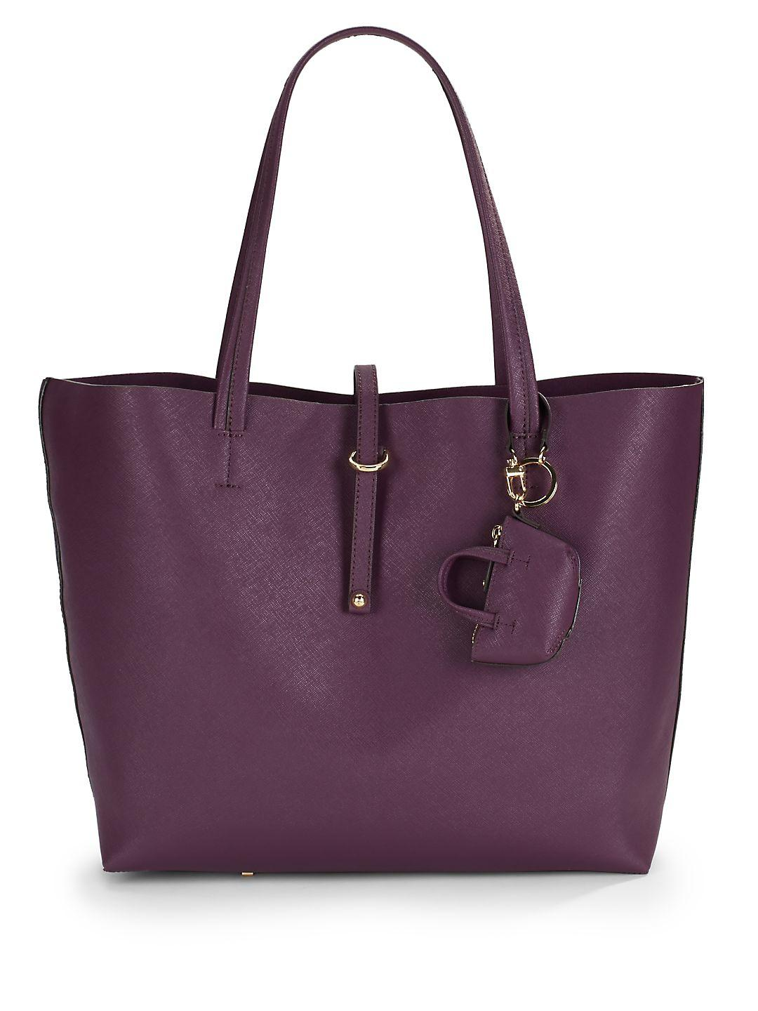 Vince Camuto Leather Avira Open Top Tote in Purple