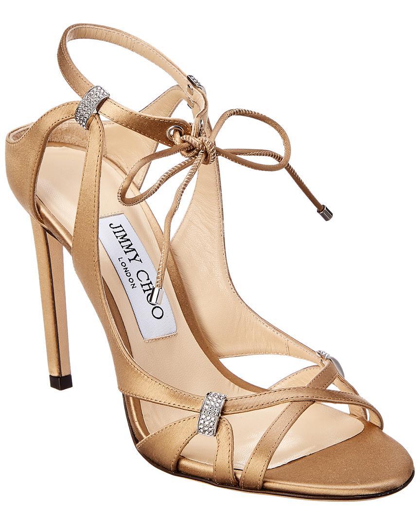 24952c671 Jimmy Choo. Women s Brown Thassia 100 Swarovski Crystal   Satin Sandal
