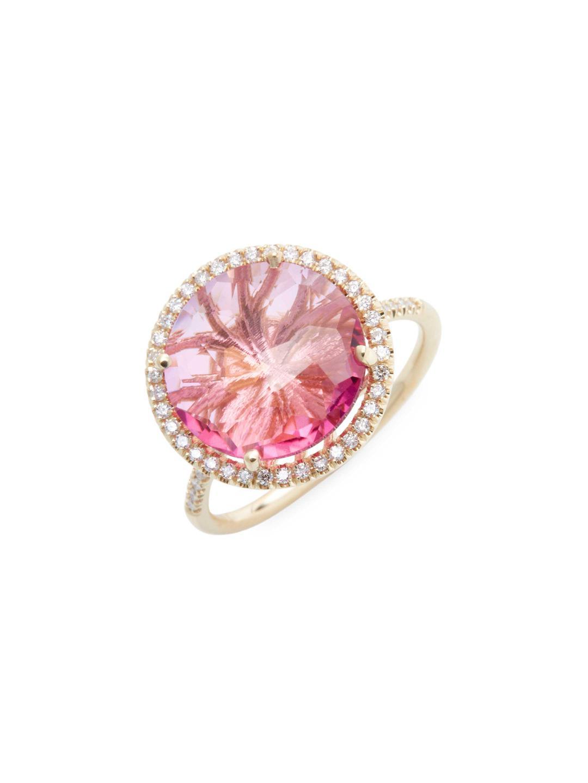 Lyst - Suzanne Kalan 0.18 Tcw Diamond & Pink Topaz 14k Yellow Gold Ring