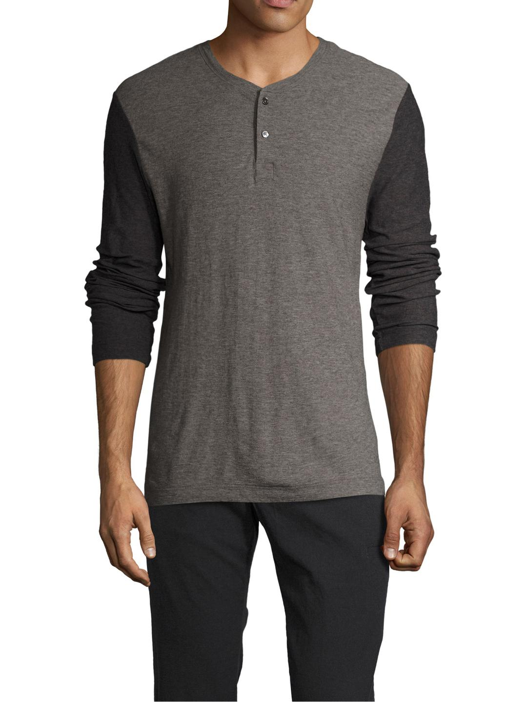 Lyst james perse cotton melange jersey henley in gray for James perse henley shirt