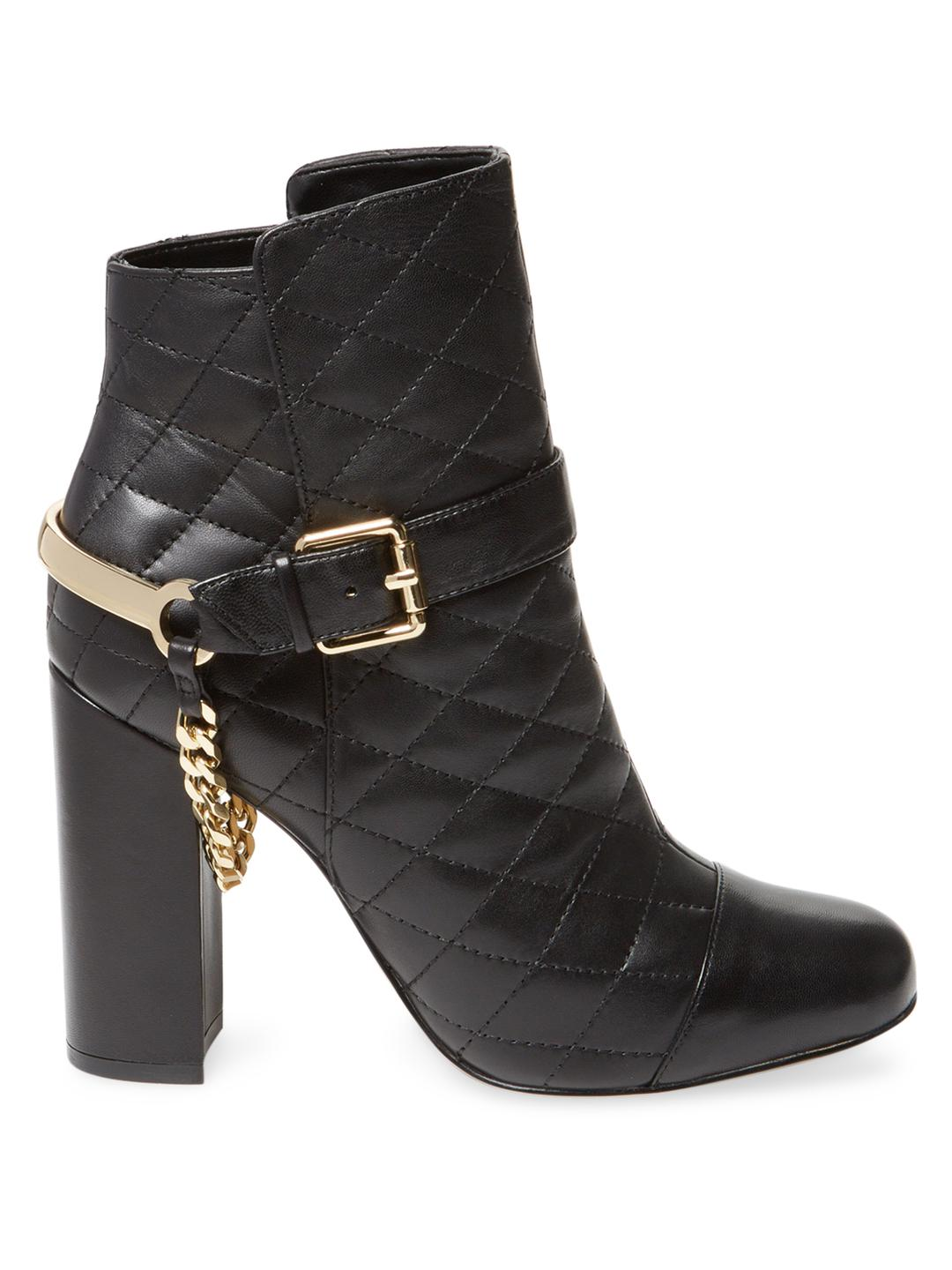 Karl Lagerfeld Leather Seeva Quilted Bootie in Black