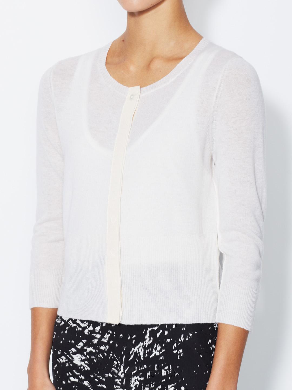 Nili lotan Cashmere Cropped Cardigan in White   Lyst