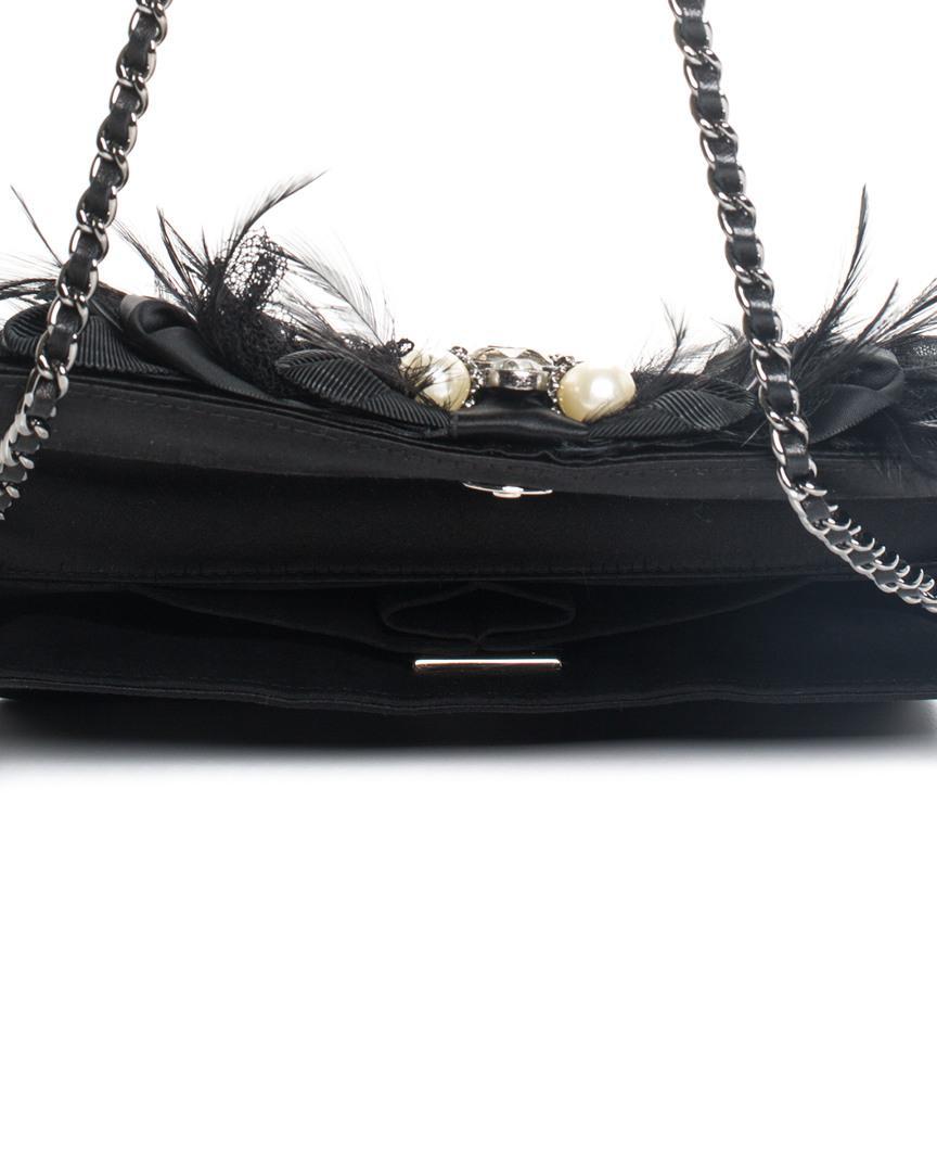 11017a7978 Chanel Limited Edition Black Satin Gripoix Byzance Shoulder Bag ...