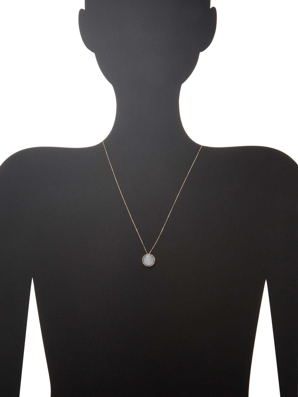Suzanne Kalan 0.26 Tcw Champagne Diamond & Moonstone 14k Yellow Gold Bezel Pendant Necklace in Metallic
