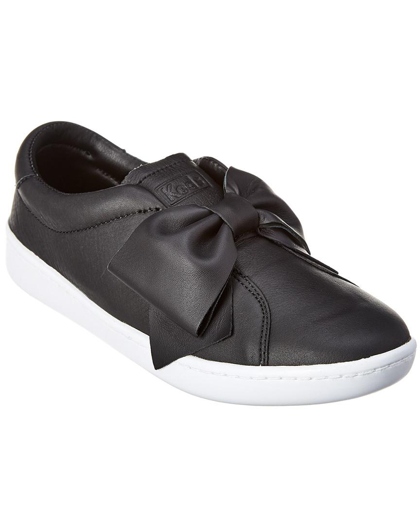 Ace Bow Leather Sneaker Keds Ace Leather Black Shoes
