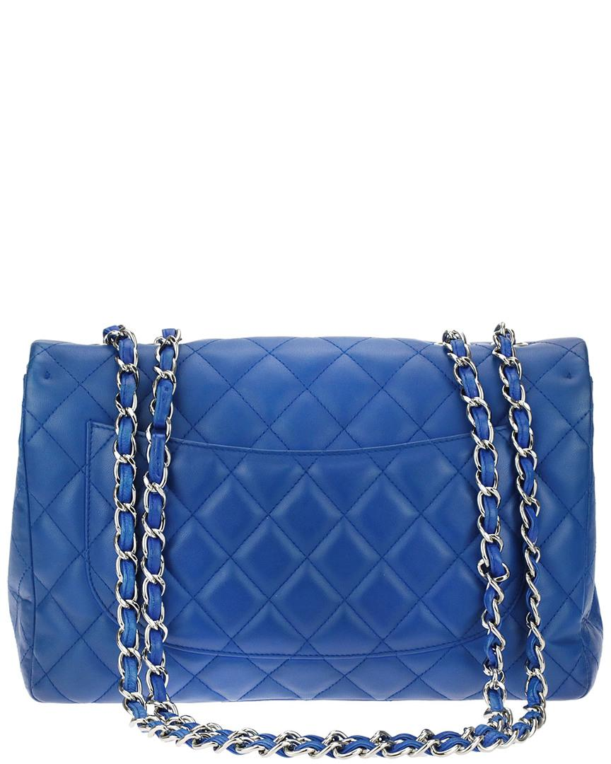 0b5704b91e70 Lyst - Chanel Cobalt Blue Quilted Lambskin Leather Jumbo Single Flap ...