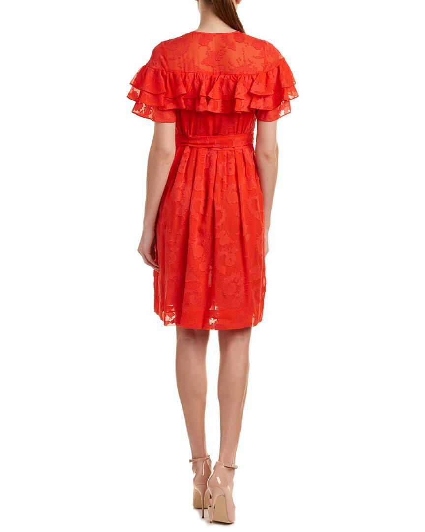 65df4a000d1 Lyst - Rebecca Taylor Clip Silk-blend A-line Dress in Red - Save 46%