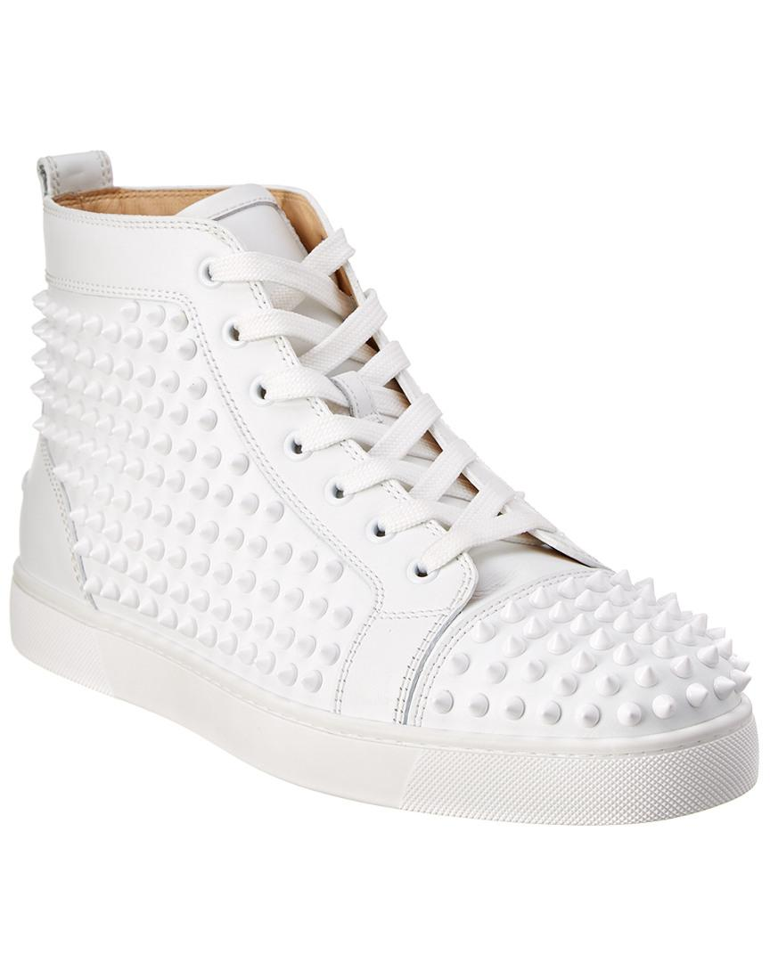 749e740f3889 Lyst - Christian Louboutin Louis Spiked Leather Sneakrs in White for ...