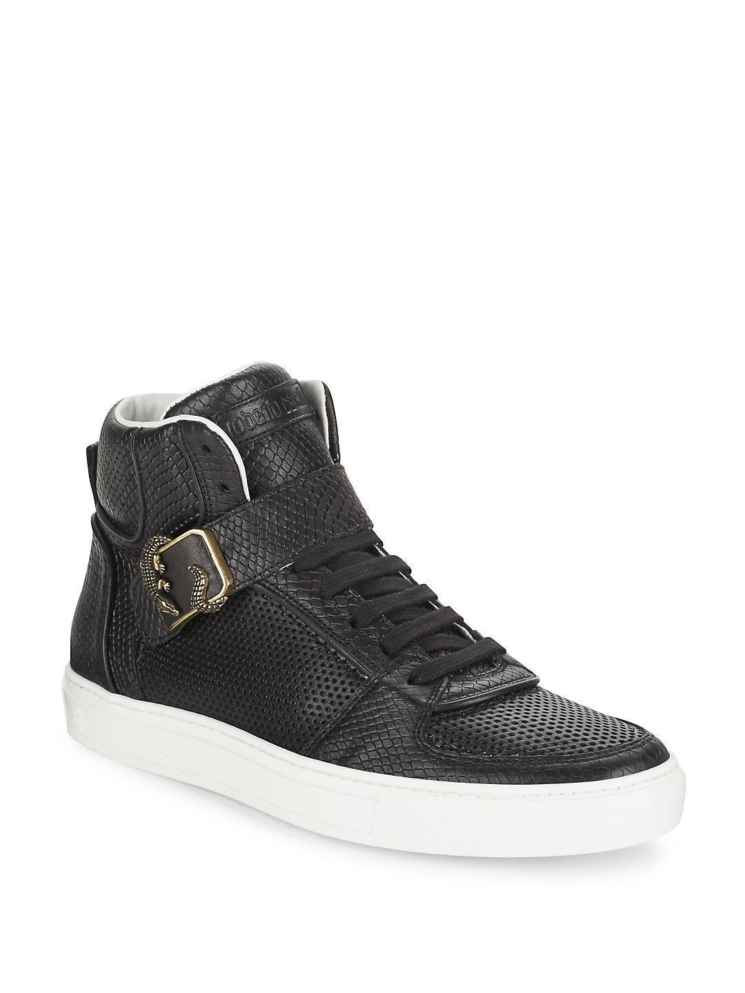 8bf95a81318a4 Lyst - Roberto Cavalli Snake-embossed Leather High Top Sneakers in ...
