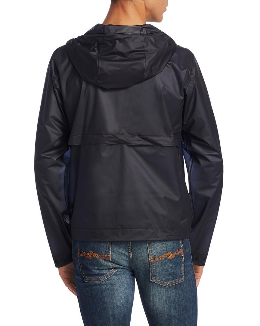 HUNTER Hooded Rain Jacket in Navy (Blue) for Men