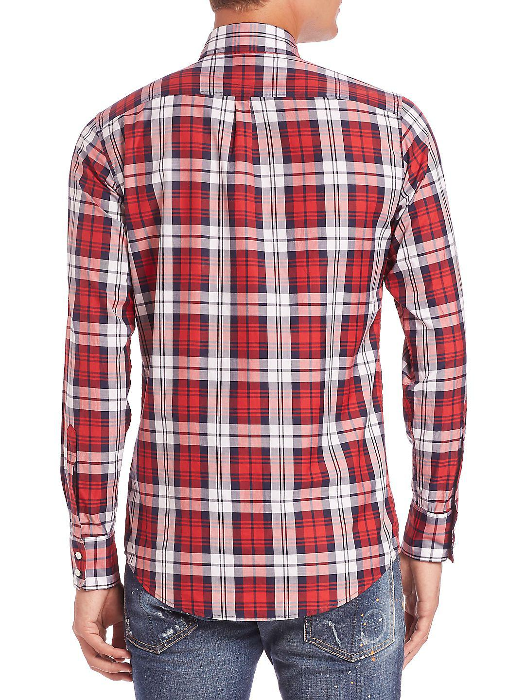 DSquared² Cotton Classic Check Sportshirt in Red (Grey) for Men