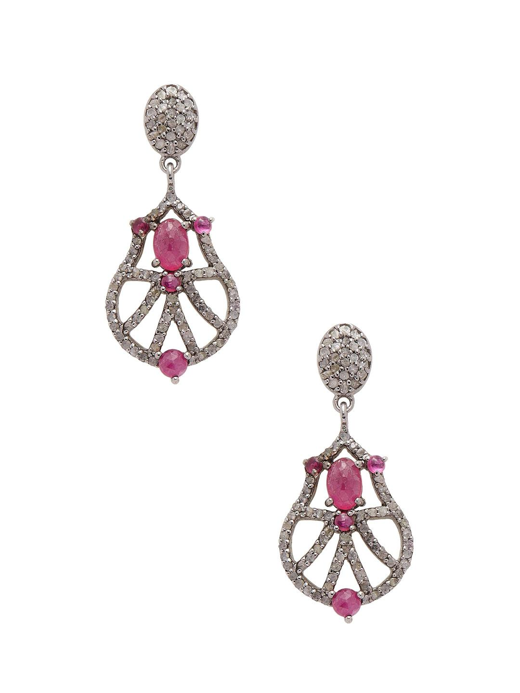 Bavna Diamond & Glass Ruby Drop Earrings HcJsRZOLG