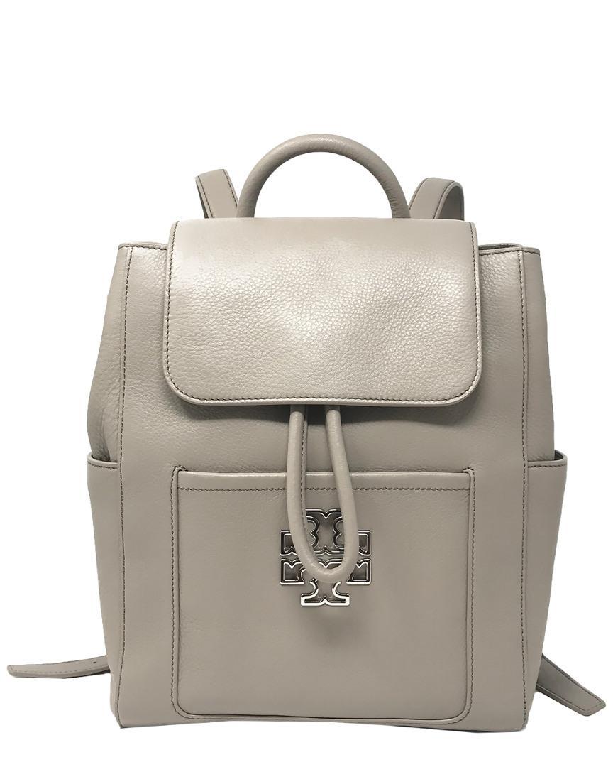 9b5eef29685 Tory Burch Britten Leather Backpack in Gray - Lyst