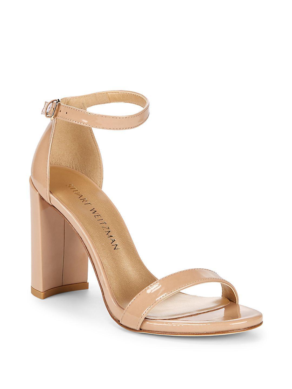 f715b6aae95 Lyst - Stuart Weitzman Walkway Patent Leather Block Heels in Natural