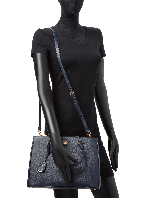 783d7d4d3c30 ... sale lyst prada galleria double zip medium saffiano leather tote in  black a8881 2803e