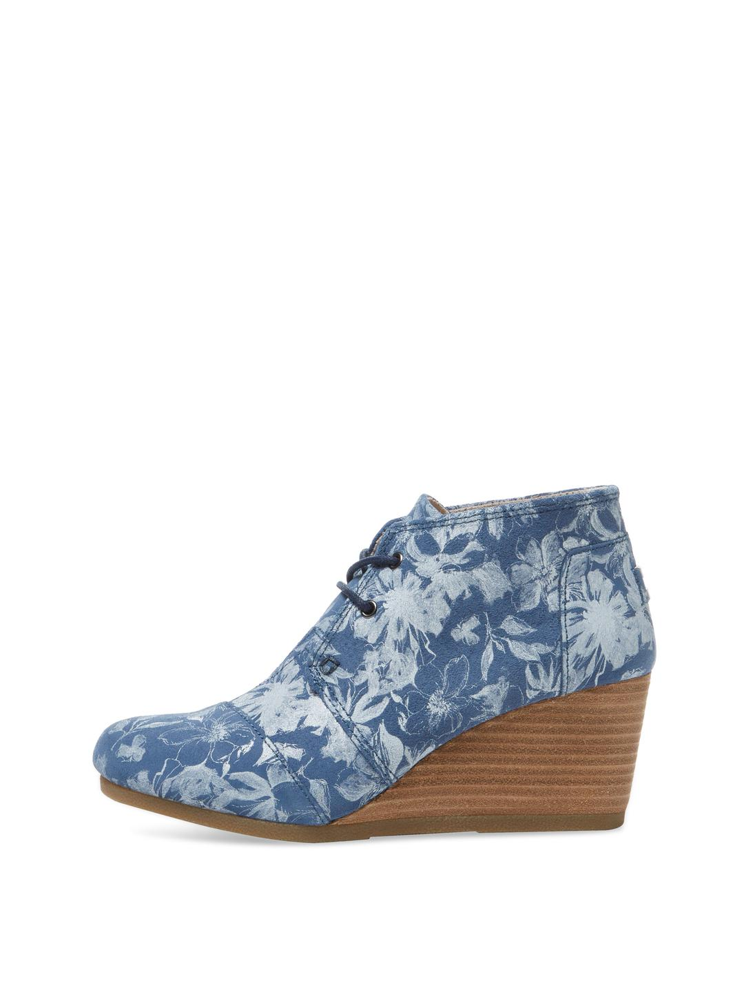 b11868e88a4 Lyst toms desert suede wedge bootie in blue jpg 1080x1440 Toms blue floral  pattern wedges