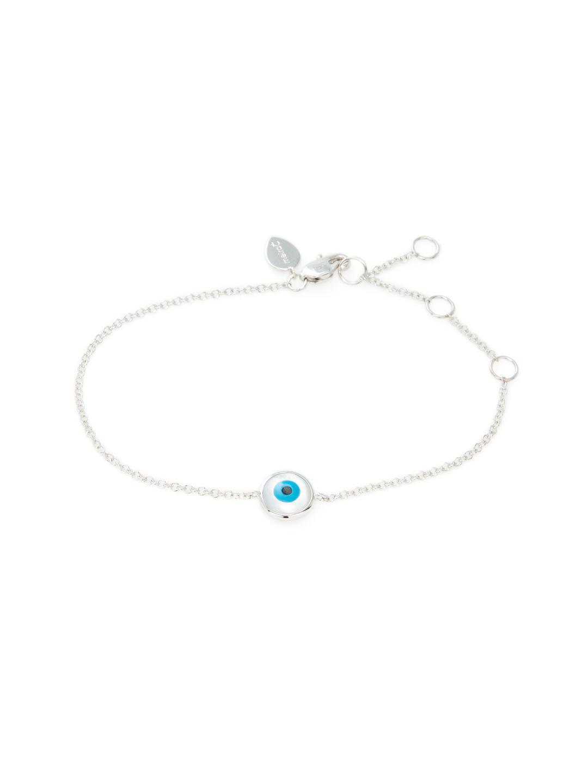 14k White Gold 0 02 Total Ct Diamond Evil Eye Bracelet