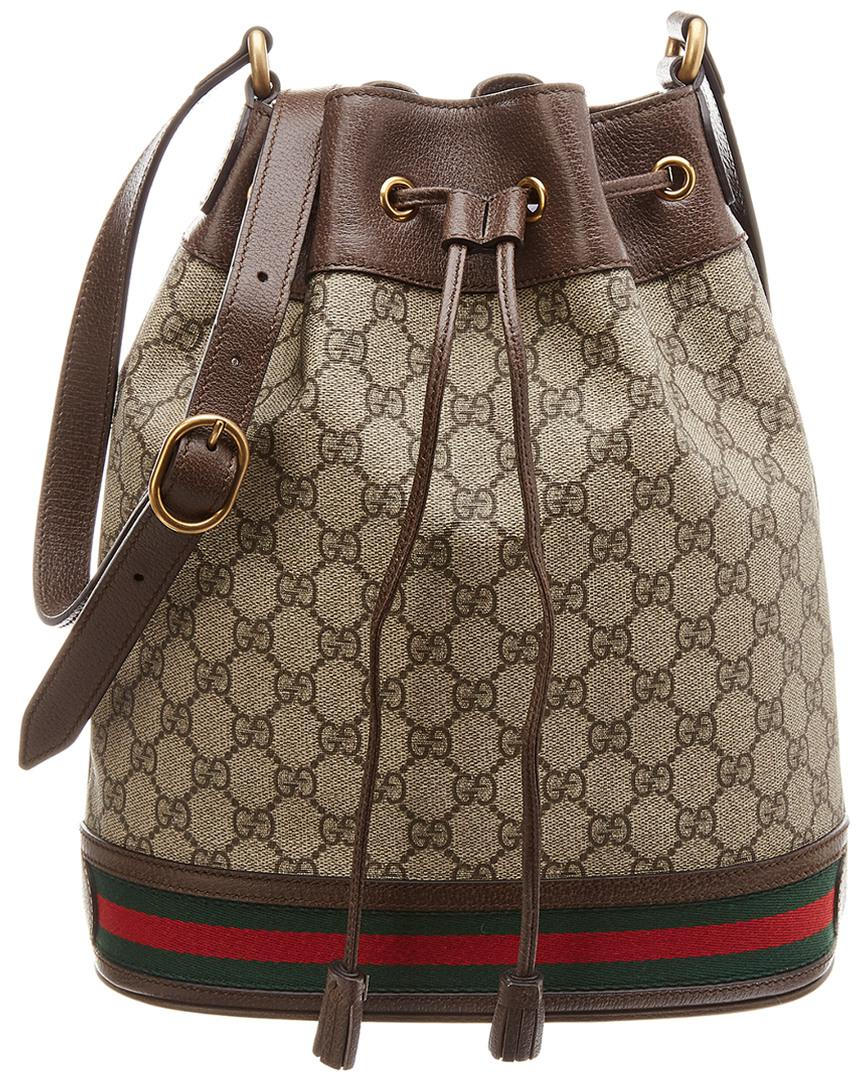 caec31421539 Gucci Ophidia GG Leather Bucket Bag in Brown - Lyst