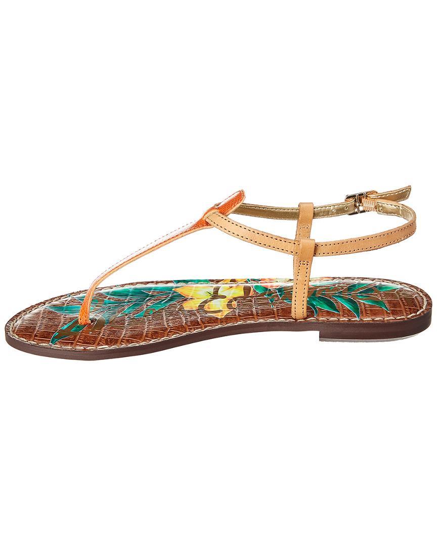 6d83cfe58 Lyst - Sam Edelman Gigi Lizard Print Floral Leather Thong Sandals - Save 36%