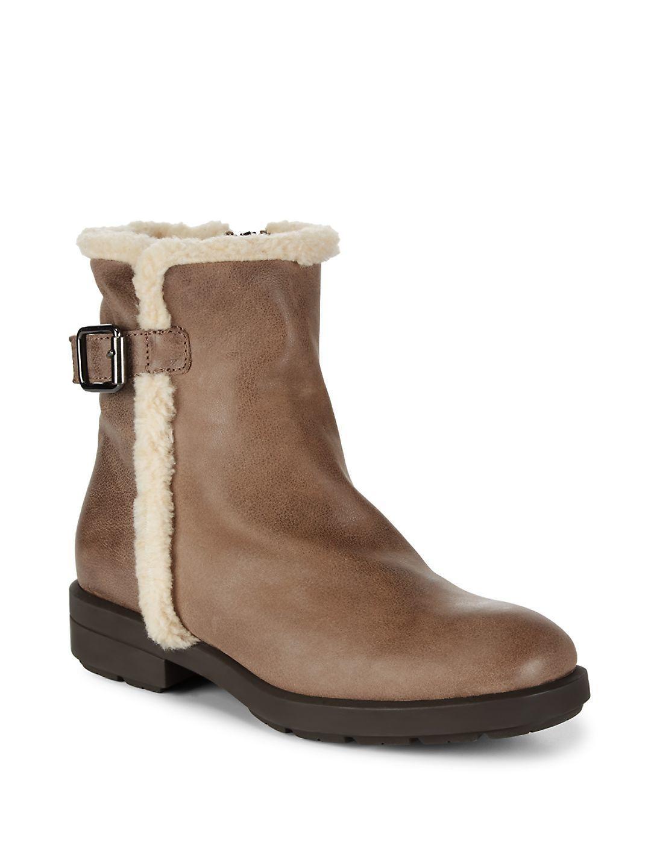 Aquatalia Faux Shearling Trim Leather Boots in Mushroom (Brown)