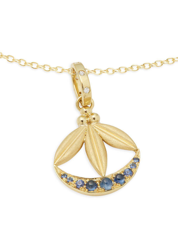Temple St  Clair Metallic Diamond, 18k Gold & 18k Yellow Gold Lotus  Crescent Pendant