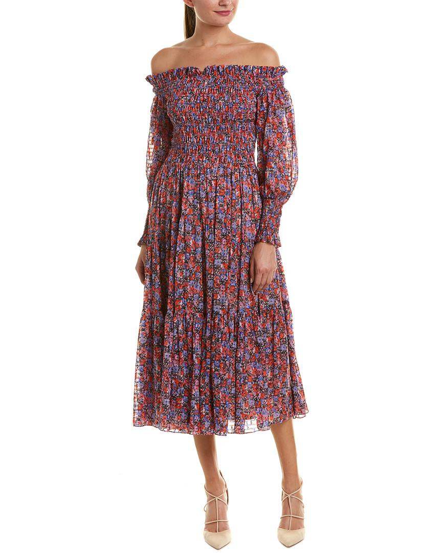 81c98c6965c2 Lyst - Rebecca Taylor Cosmic Floral Silk-blend Midi Dress in Black