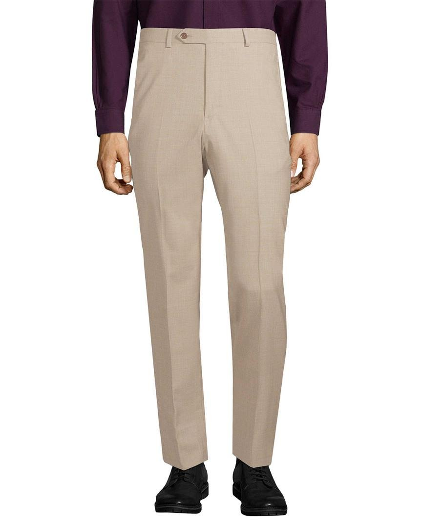 Brooks Brothers Wool Straight Leg Trouser in Natural for Men