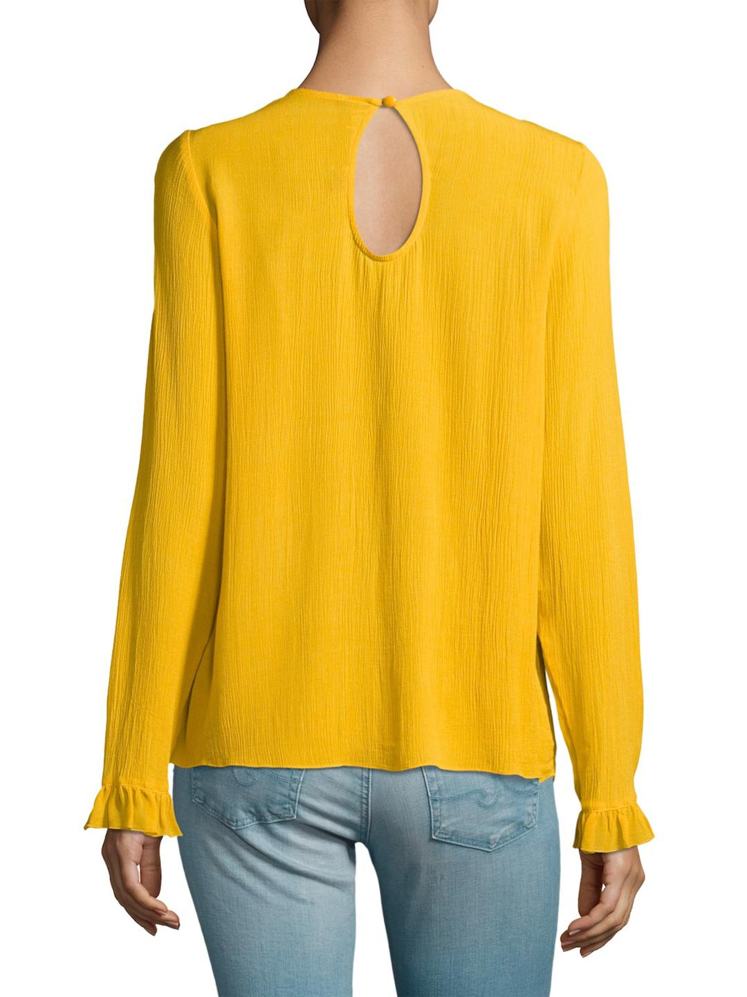 Plenty by Tracy Reese Synthetic Lace Insert Blouse in Yellow