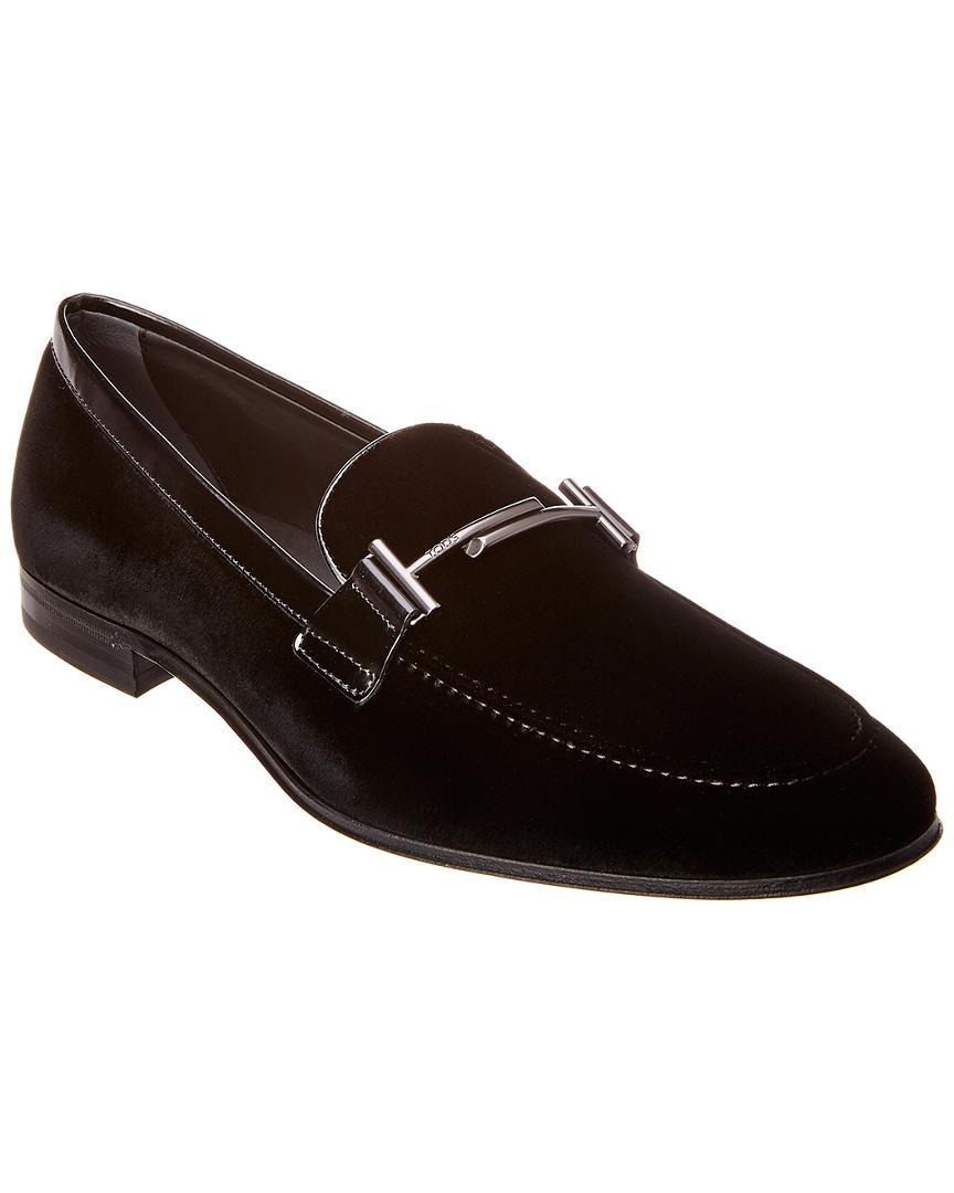 1524606fafe Lyst - Tod s Double T Velvet Loafer in Black for Men