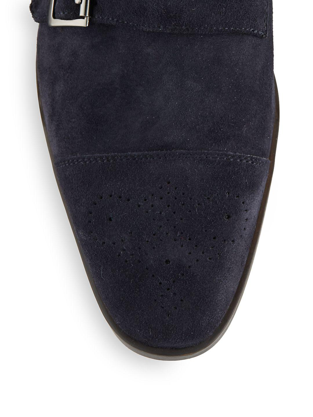 Saks Fifth Avenue Suede Monk-strap Dress Shoes in Navy (Blue) for Men