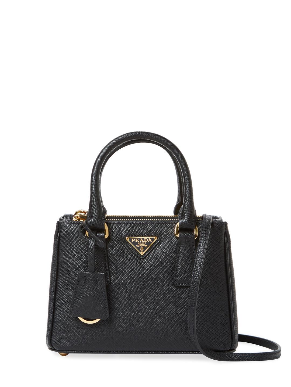 Lyst - Prada Galleria Double Zip Mini Saffiano Leather Tote in Black 1e516cf048193