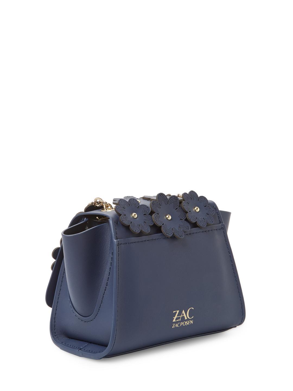 Zac Zac Posen Leather Floral Applique Eartha Iconic Mini Chain Crossbody in Navy (Blue)