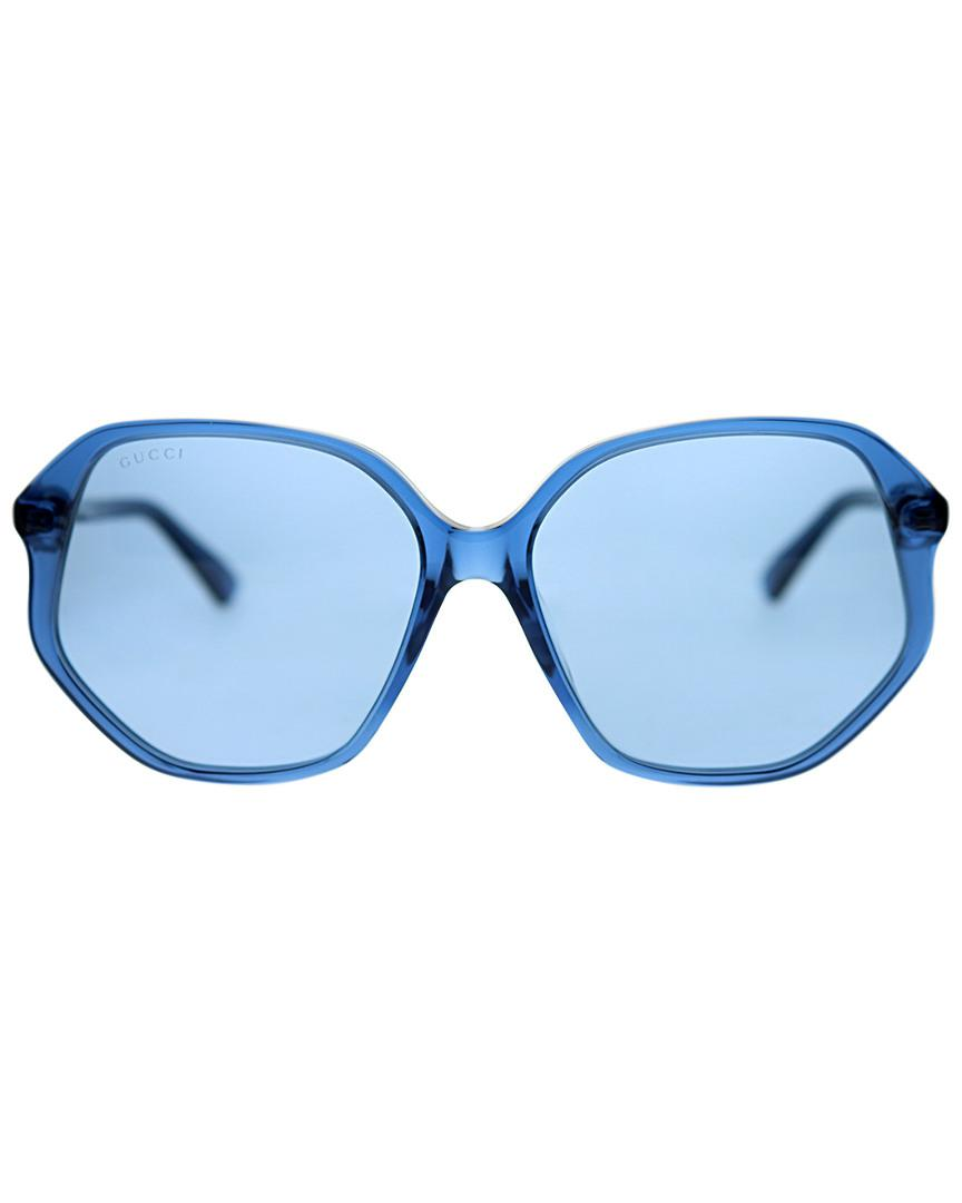8f353f9ba163 Lyst - Gucci Rectangular 56mm Sunglasses in Blue - Save 0.5555555555555571%
