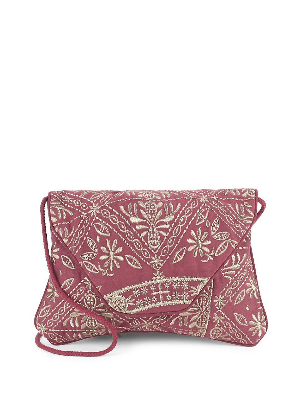 Antik Batik Cotton Embroidered Crossbody Bag in Light Brown (Brown)