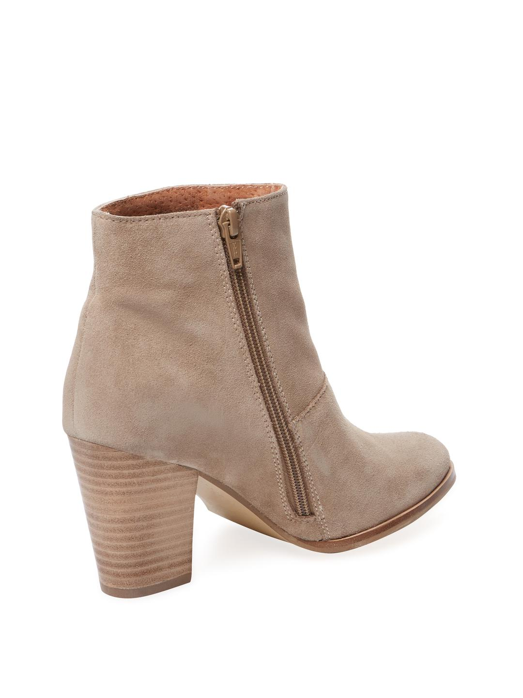Seychelles Suede Travels High-heel Ankle Boots in Beige (Natural)