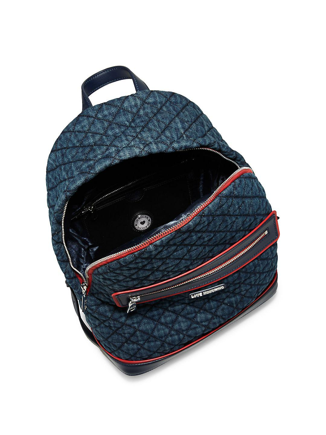 0b089d2cf4b562 Lyst - Love Moschino Quilted Denim Backpack in Blue