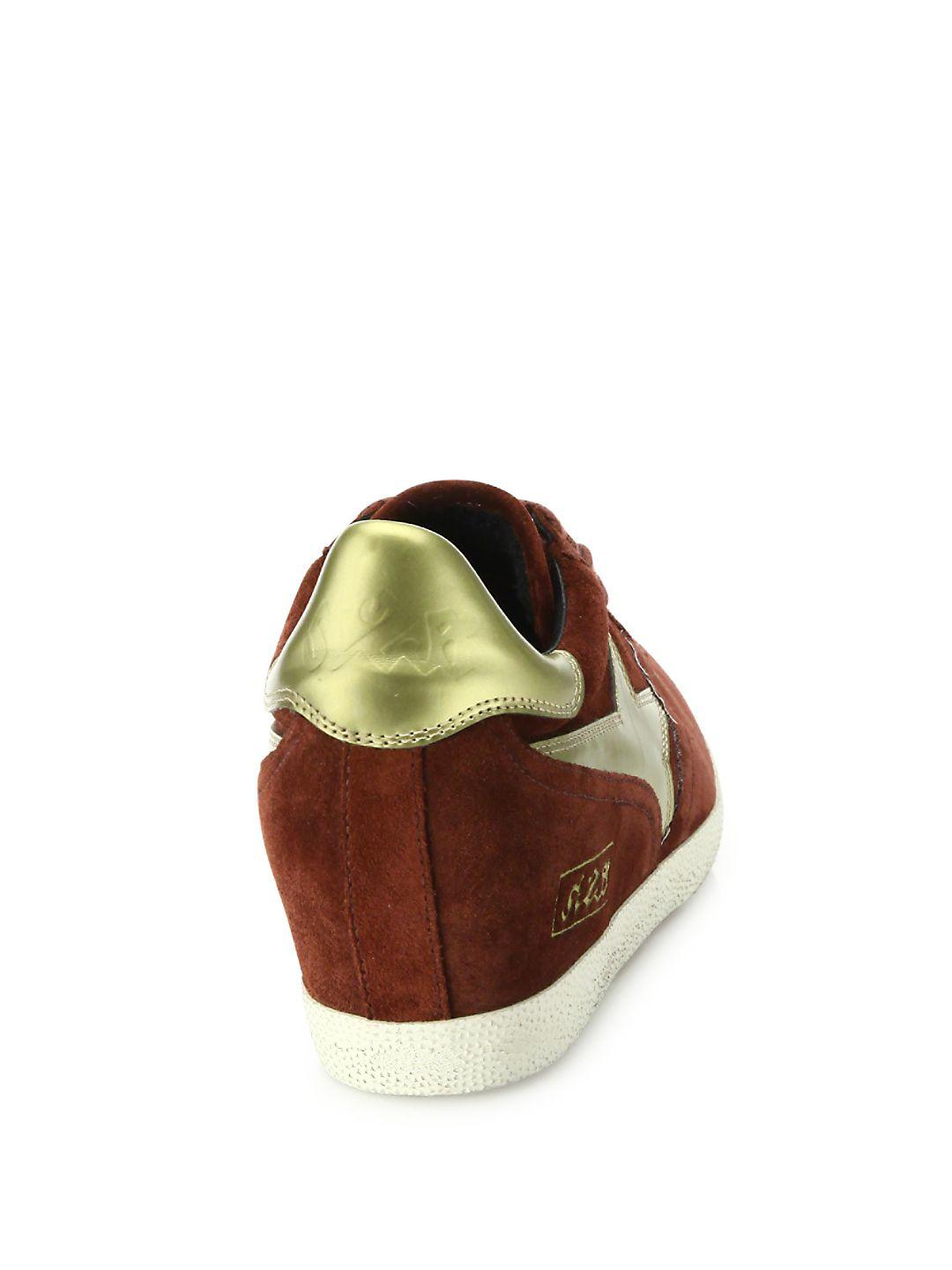 Ash Guepard Bis Suede & Faux Metallic Leather Wedge Sneakers in Red
