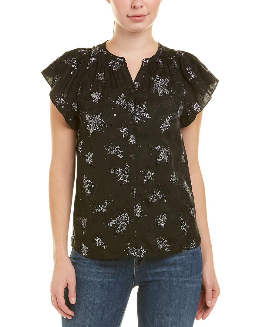 3f6ab9fbdcc Lyst - Rebecca Taylor Glitter Silk Top in Black - Save 1%