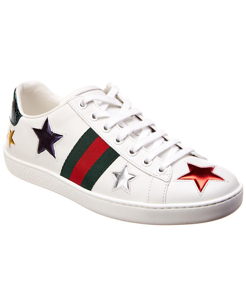 Gucci Ace Star Embroidered Leather