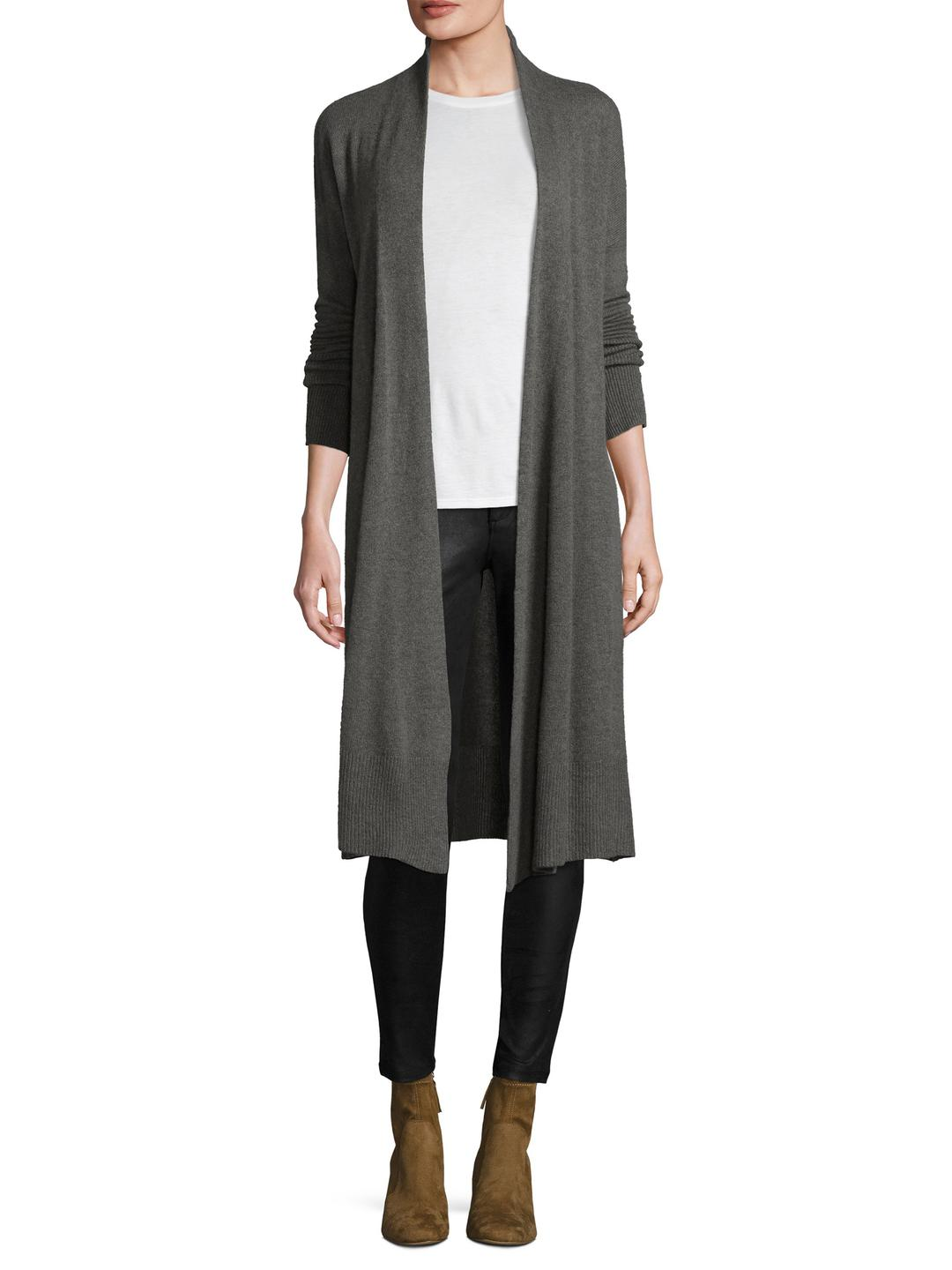 White   warren Cashmere Open-front Duster Cardigan in Gray | Lyst