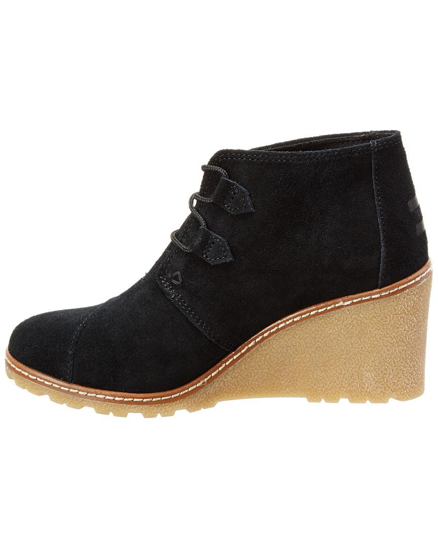 867cf890313b Lyst - Toms Desert Wedge Bootie in Black - Save 12.658227848101262%